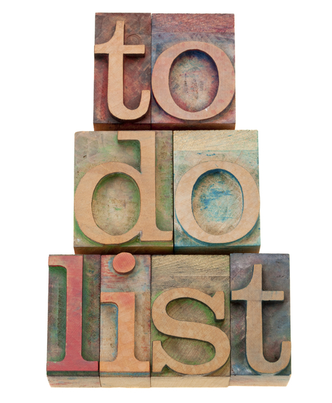 to do list - task management concept - isolated text in vintage wood letterpress printing blocks